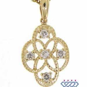 Oval Shaped Diamond Floral Pendant 14K Yellow Gold